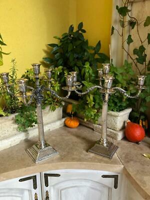 Fine Antique Large Pair Silver 800 Candle Holders