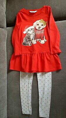Girls H&M Christmas Top and leggings set Age 2-4 Years