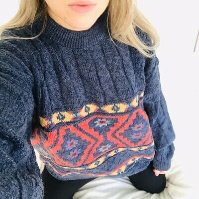 Vintage Oversized Blue Cable Knit Heavyweight Patterned Chunky Jumper Sweater L