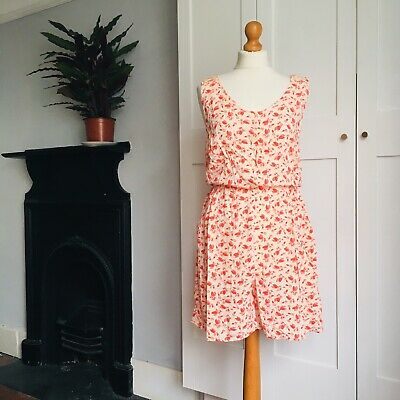 Vintage 90s Cream Red Leaf Spotty Print Shorts Playsuit Pockets 12