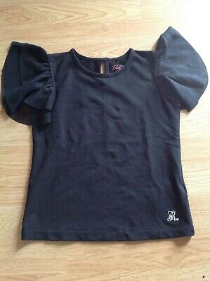 Baby K girls black short sleeve t.shirt with chiffon frilly sleeves age 7-8 year