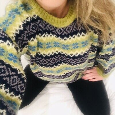 Vintage 90s Lime Green Fair Isle Chunky Wool Patterned Cosy Jumper Sweater M