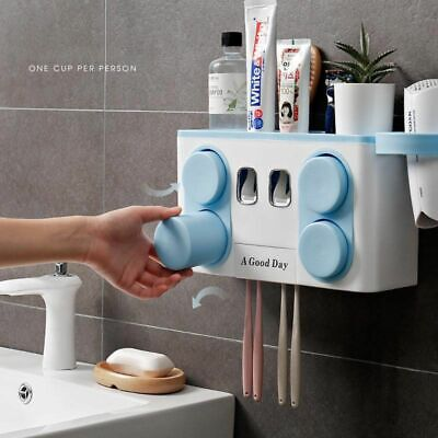 Automatic Toothpaste Dispenser Toothbrush Holder Wall Mounted Bathroom Bath Kit