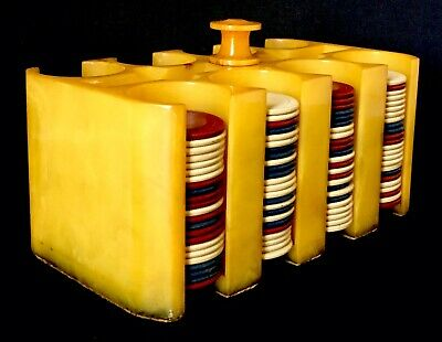 Bakelite Catalin Poker Chip Caddy W/Chips Holder Butterscotch Swirl