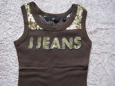 Jasper Conran Girls Brown Vest Top Aged 7-8 With Sparkles And Squeezes J Jeans
