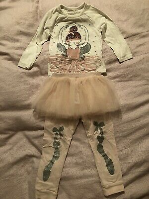 Girls Marks & Spencer M&S Tutu Pyjamas 3 Piece Set. Age 3-4 Years.