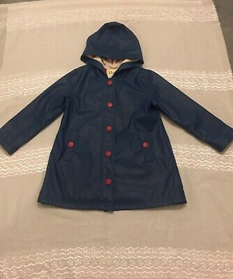 Hatley Girls Red Buttoned Blue Rain Coat