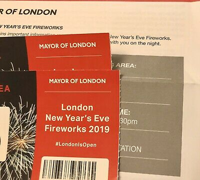 2 X London Fireworks New Years Eve Tickets Red Zone Entrance 5 31/12/19