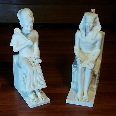 2/Set A. Giannelli Alabaster Egyptian Statue Bookends Pharaoh & Queen On Throne