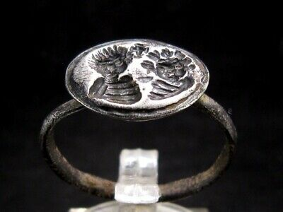 Extremely Rare Byzantine Wedding Couple Silver Seal Intaglio Ring+++