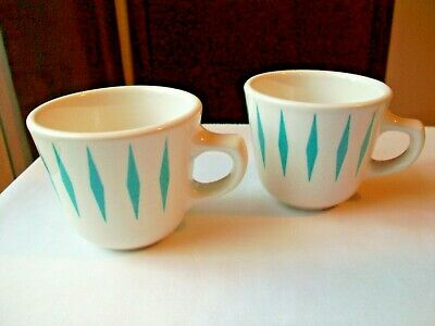 Homer Laughlin Restaurant Ware Turquoise Diamonds  2 Cups