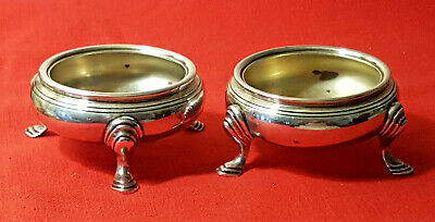 """Pair of Antique Tiffany & Co. Sterling Silver Footed Master Salt Cellars. """"M""""."""