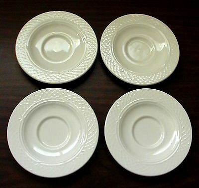 4 New Vintage Homer Laughlin Usa China Ivory Gothic Church Window Candle Saucers