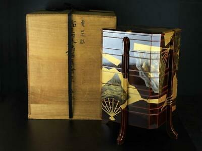 Japan antique folding fan TABLE TOP LACQUER BOX 5 CABINET gift set vintage makie