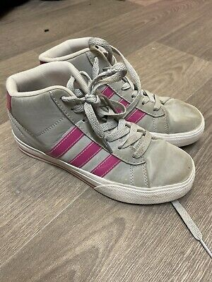 Adidas Girls Grey / Pink Hi Top Trainers / Boots - Size: 3