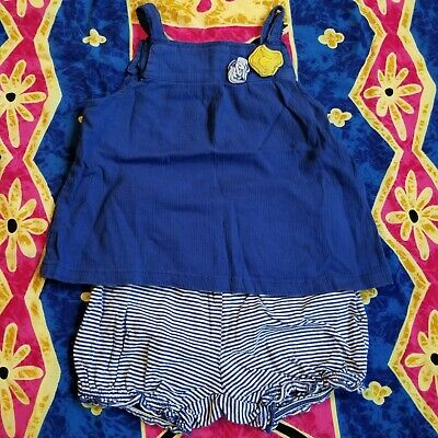 2 Piece Blue & White Striped Yellow Floral Outfit Set Tank Girls Adjustable