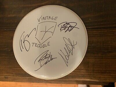 Vintage Trouble Autographed Drum Head Signed By All 4 Band Members W/Coa