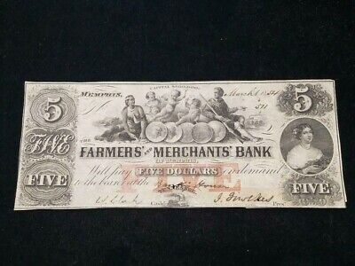 1854 $5 The Farmers' and Merchants' Bank of Memphis, TENNESSEE Note