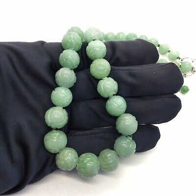 Chinese Natural Jade Graduated Bead Sterling Silver Necklace
