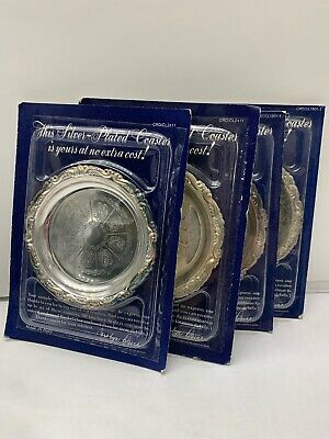 """Vintage Silver Plated 4"""" Ornate Coaster Set of 4 Italy Sealed - Readers Digest"""