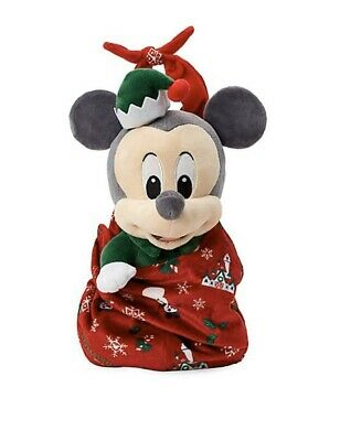Disney Parks Baby Mickey Mouse Holiday Plush Doll In Pouch  - Nwt
