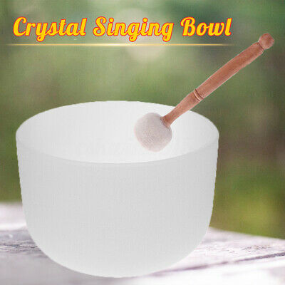"8"" F Note Heart Crystal Singing Bowl Frosted Quartz Chakra Meditation w/Mallet"