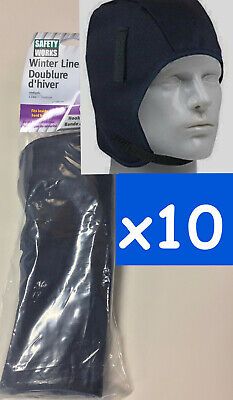 10pc Winter Hard Hat Liner-Safety Works 10084961,head and face,black,lot of 10