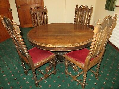 Antique French Renaissance Style Oak Dragon Legged Table And 4 Carved Chairs