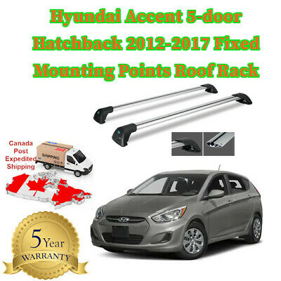 Aerodynamic Roof Rack  Fixed Mounting Points Hyundai Accent Hatchback 2012-2017