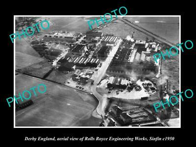 Old Large Historic Photo Derby England, Aerial View Of Roll Royce Factory 1950 1