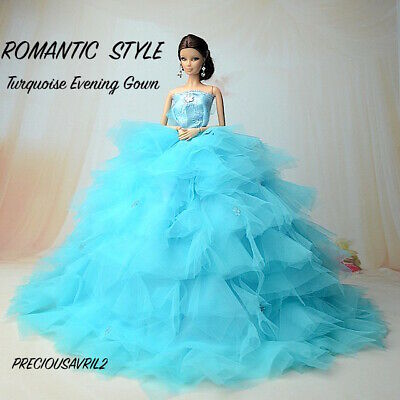 New Barbie doll clothes outfit princess wedding dress Vogue Turquoise gown
