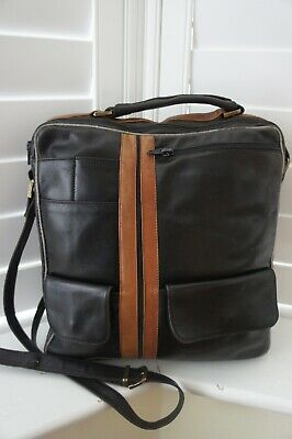 Enny Vintage Unisex Genuine Brown Leather Made In Italy Large Messenger Bag