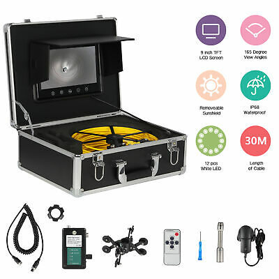 "30M Waterproof Drain Pipe Sewer Inspection Camera System 9"" LCD 1000 TVL Camera"