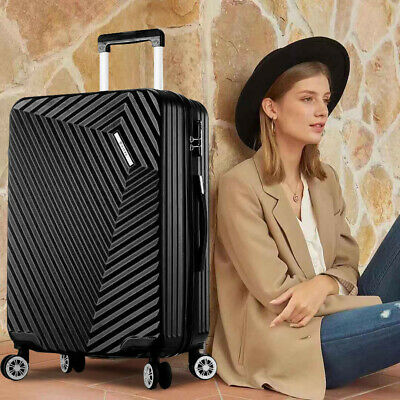 """NEW ABS Hard Shell Cabin Suitcase Case 4 Wheels Luggage Lightweight 28"""" Black"""
