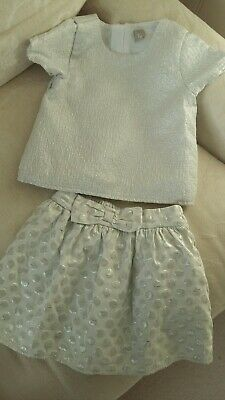 TU Girls Christmas Outfit Age 3/4 Years Silver Sparkly
