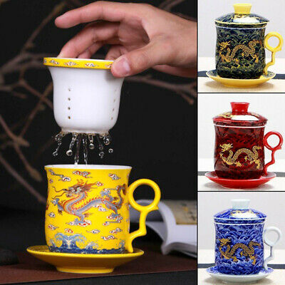 NEW Chinese Dragon Porcelain Tea Cup Coffee Mugs with Infuser&lid&saucer Ceramic