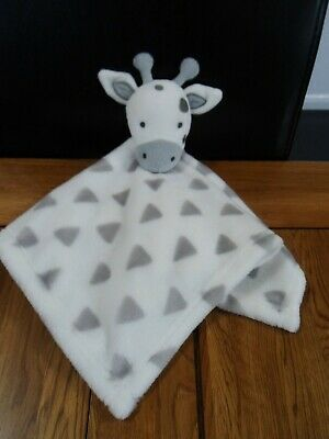 Primark Early Days Giraffe With Triangles In White & Grey Baby Comforter Blankie