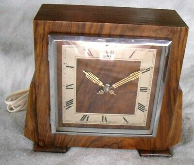 Art Deco 1930s Smiths(Ferranti Movement) Wooden Electric Mantel Clock,Restored.