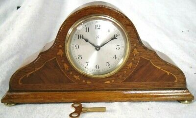 Antique 1900s German Ornate Wooden Inlay Mantel Mechanical Clock - Restored.