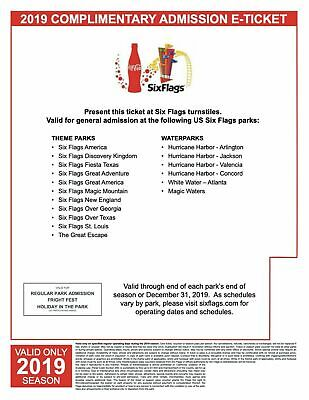 Six Flags Single Day General Admission Ticket Valid at Any Park Listed