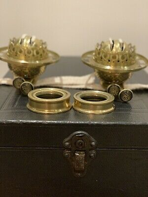 Pair Of Brass Duplex Oil Lamp Burners With Collar In Excellent Condition