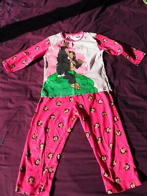 Girls Monkey World Pink Pyjama Set, Age 3-4 years, Good Condition