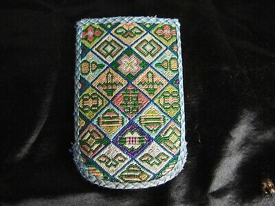 antique hand embroidered silk Chinese pouch coin purse pocket textile