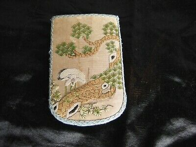 Antique Chinese hand embroidered silk coin purse pouch pocket textile