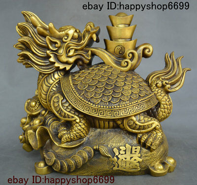 """14"""" China Copper Brass Dragon Tortoise Loong Turtle Yuan bao Coins Wealth Statue"""