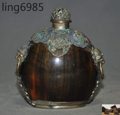 Collect China Old Ox horn inlay Cloisonne lion Foo dog Head Statue Snuff Bottle