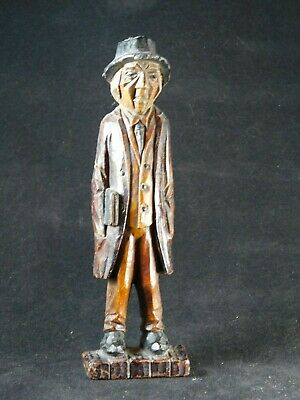 Wood Carved Figure of a Gentleman 1930s Depression Craft.
