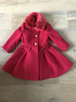 Monsoon Coat, Red, Girls Age 3-4, Detachable Fur Collar, Hardly Worn