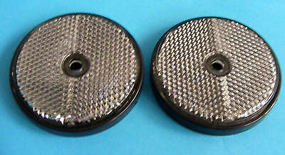 2 x Clear Front Screw On Round 60mm Reflectors - Trailer Horse Box Driveway Post