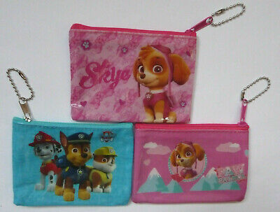PAW PATROL Zip Coin Purse childrens 3 designs pocket money NEW Skye Chase Rubble